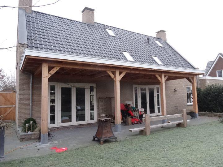 Douglas houten veranda hardstenen poeren