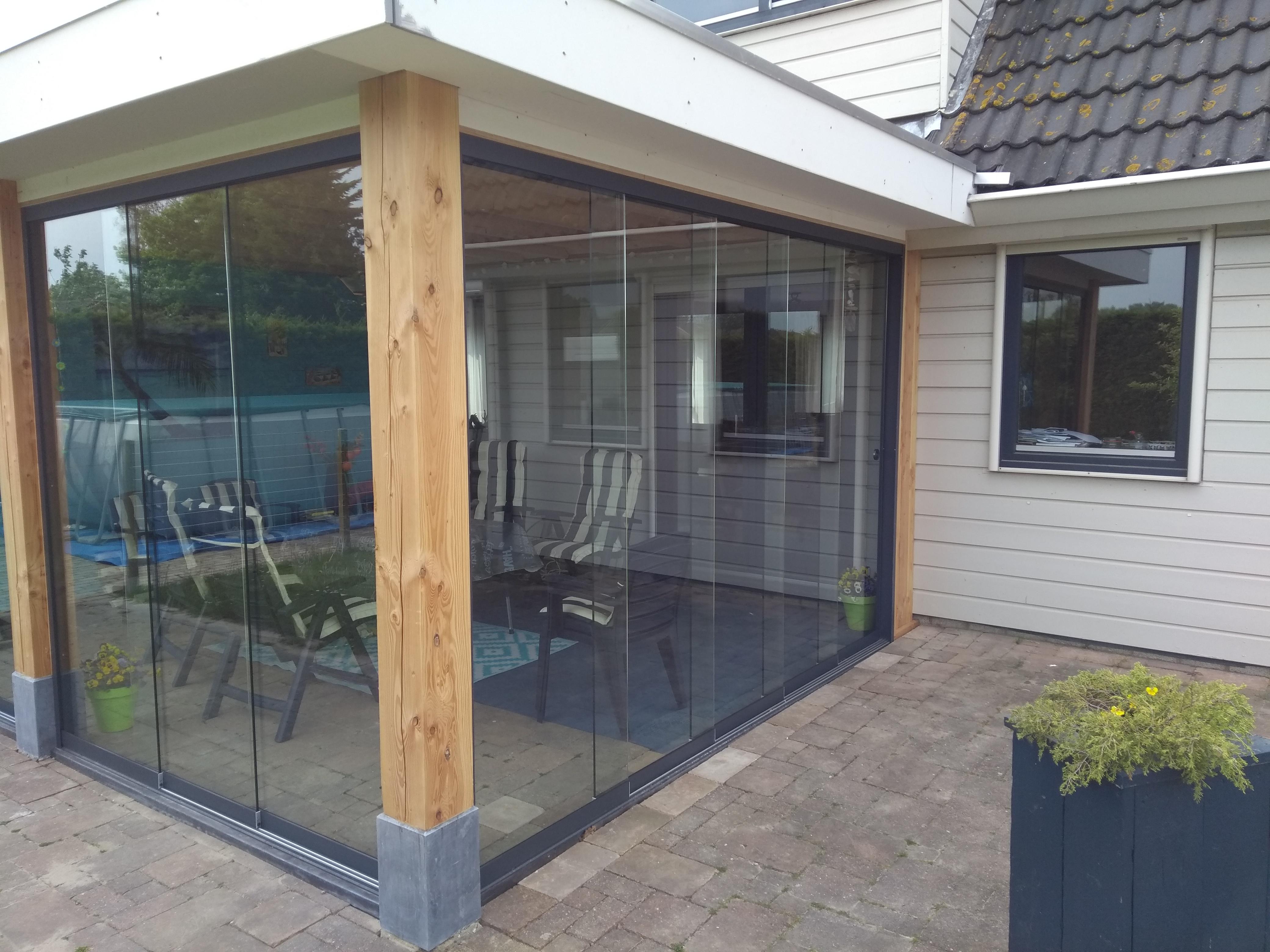 Douglas hout veranda glazen schuifwand
